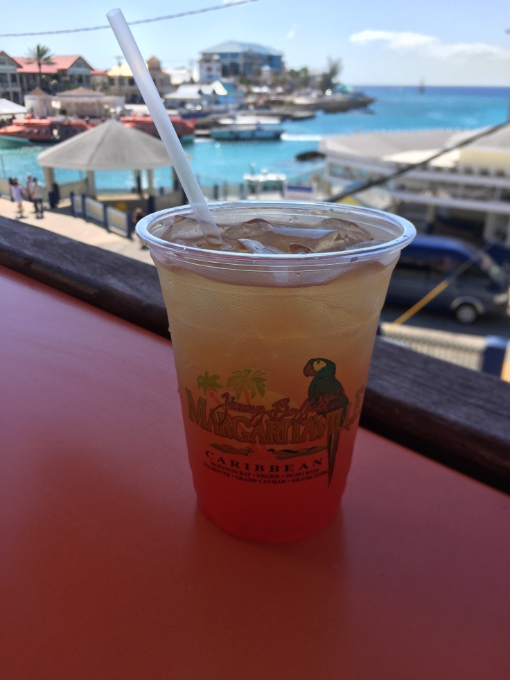 A cocktail with a view from Margaritaville in George Town, Grand Cayman.