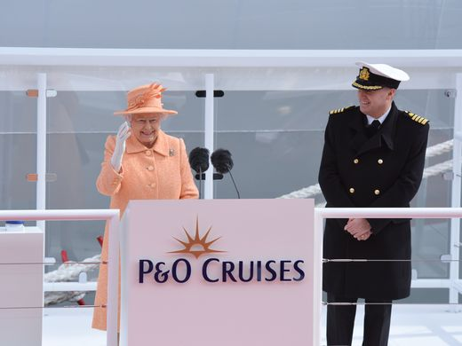 HRH Queen Elizabeth II christening Britannia